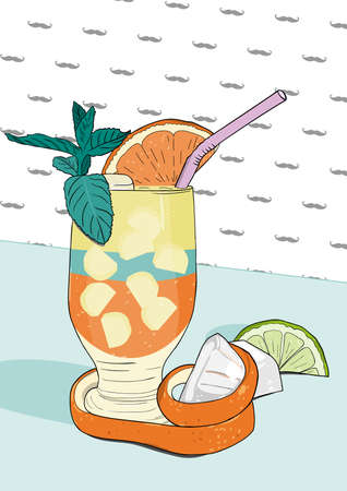 Cocktail with orange peel and mint leaf served on a bar. Hipster background with mustache icon. Hand drawn Vector Illustration.