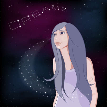 Dreaming girl on night sky background. Realistic girl looks up at the stars. Vector Illustration.