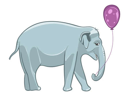 Smiling realistic baby elephant with purple balloon. Vector Illustration.