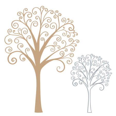 Abstract stylized tree. Hand drawn vector illustration.