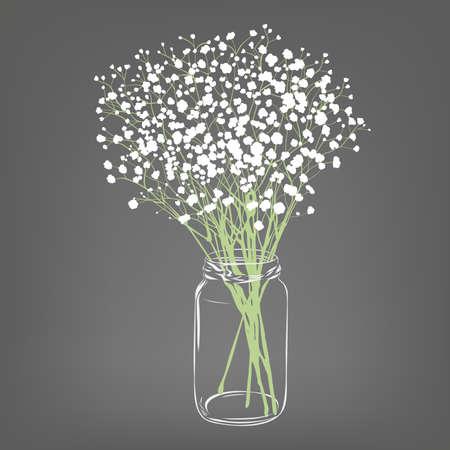 Bukiet białych kwiatów. Kwiaty łyszczec. Przezroczysty słoik z przezroczystego szkła. Szare tło. Ilustracja wektorowa. Ilustracje wektorowe