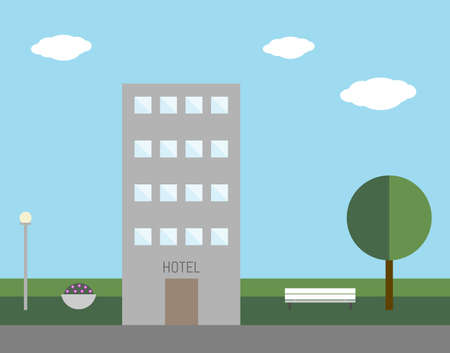 Hotel. Outdoor. Vector Illustration.  イラスト・ベクター素材