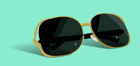 Gold sunglasses. Vector flat illustration.  イラスト・ベクター素材
