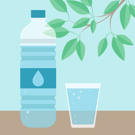Drinking water. Glass, bottle and branch with leaves. Vector illustration.  イラスト・ベクター素材