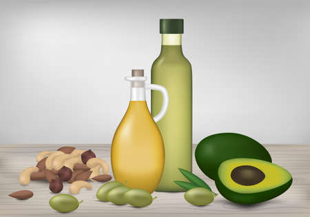 Healthy fat products. Oil bottles, avocado, olives and nuts on wood table. Vector illustration.