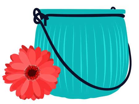 Blue glass jar and beautiful flower. Vector illustration. Illusztráció