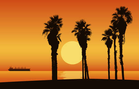 Sunset beach with silhouette of palm trees. Vector Illustration.