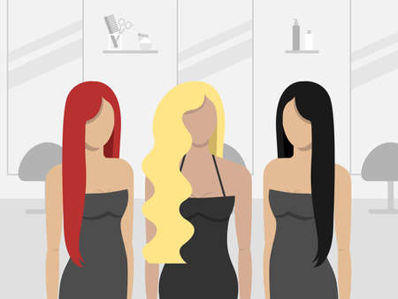 Women in hair salon. Vector illustration.