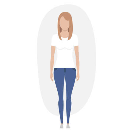 Woman in jeans and t-shirt. Isolated on white. Vector illustration.