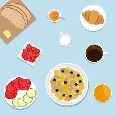 Breakfast. Top view. Vector illustration.  イラスト・ベクター素材