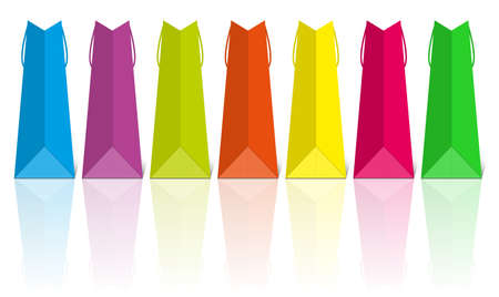 Colorful shopping bags with reflection. Isolated on white. Vector illustration.