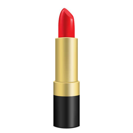 Red lipstick. Isolated on white. Realistic 3D vector illustration.