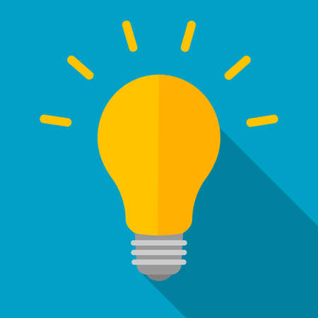 Light bulb with long shadow. Vector flat illustration.  イラスト・ベクター素材