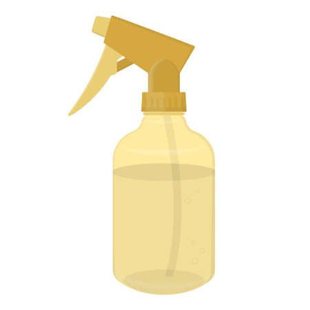 Hairdresser water spray gold colored plastic bottle. Isolated on white. Vector illustration.  イラスト・ベクター素材
