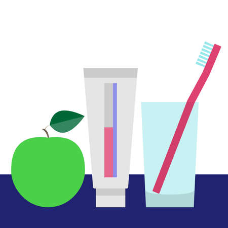 Teeth care and dental concept. Tooth brush in glass, tooth paste and green apple. Vector illustration.