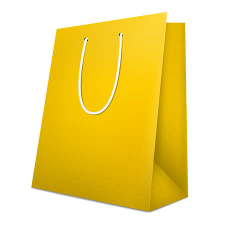 Gold shopping bag. Isolated on white. Realistic 3D vector illustration. 写真素材 - 124346155