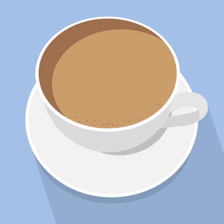 Cup of latte coffee. White cup on blue background. Top view. Vector illustration.