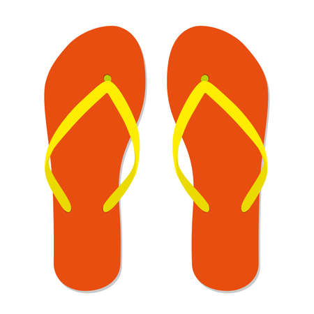 Orange flip flops. Isolated on white background. Vector flat illustration. 写真素材 - 139093102