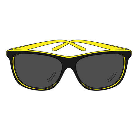 Black and yellow sunglasses. Isolated on white. Vector outline illustration.  イラスト・ベクター素材