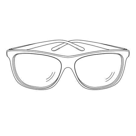 Sunglasses outline black silhouette. Vector illustration.