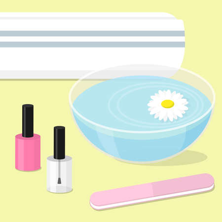 Nails art concept. Manicure equipment on yellow background. Vector illustration.