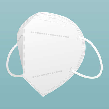 White medical mask N95. Isolated on blue background. Vector illustration. 写真素材 - 146781394