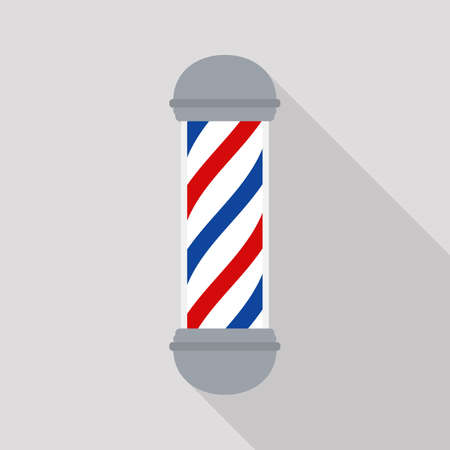 Barber Shop pole. Isolated on grey background. Vector flat illustration. 写真素材 - 155265334