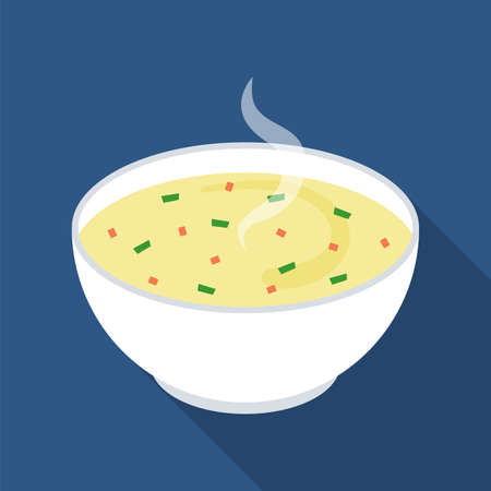 Hot soup in a white ceramic bowl. Isolated on blue background. Vector flat illustration.