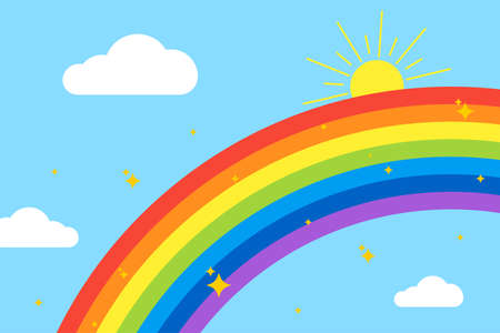 Rainbow background. Sky with rainbow, clouds, sun and stars. Isolated on light blue background. Vector illustration.