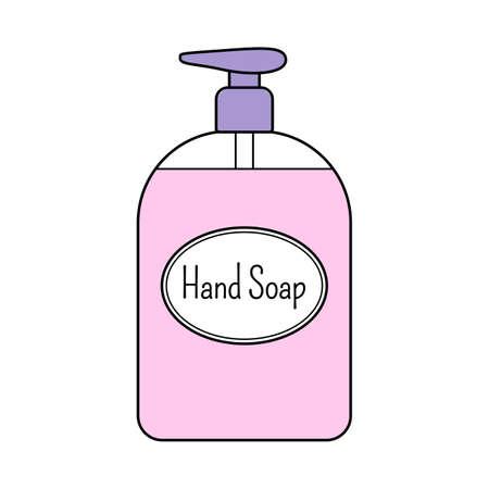Liquid hand soap. Isolated on white background. Vector illustration.  イラスト・ベクター素材
