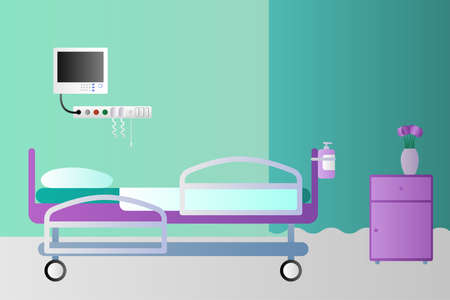 Hospital room. Hospital bed, medical equipment, nightstand, vase with flowers and curtain. Vector illustration.