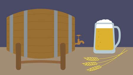 Beer background. Beer mug, wheat ears and wooden barrel. Vector illustration.