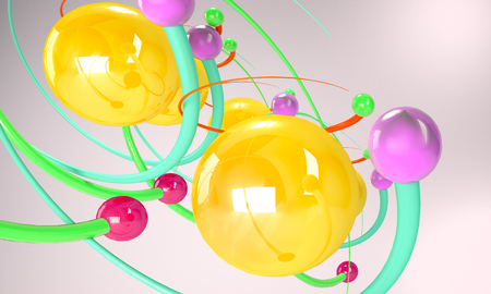 Color Atoms like toys concept. Particles and molecules.3d Render Stock Photo