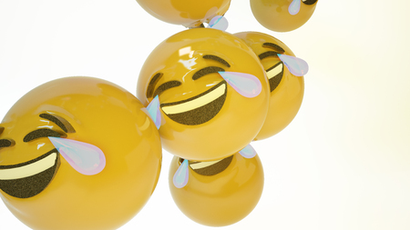 Laughing Emoji on tears. Smile emoticon white background. 3d Rendered.