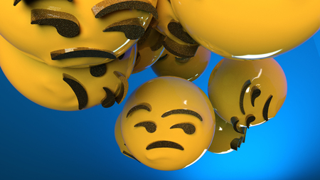 Unamused Emoji. Sad emoticon blue background. 3d Rendered.