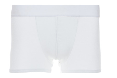 elastic garments: Still Life of Front View of White Boxer Brief Underwear on White Background