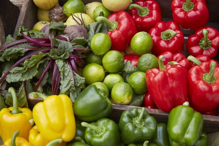 Close up of fruit and vegetables at a farmers market