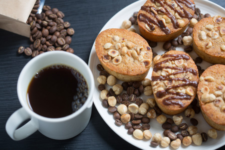 Baked cookies and a cup of coffee 스톡 콘텐츠