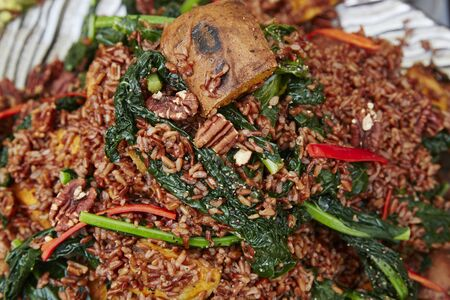 Spiced Rice Dish on display at a farmers market 스톡 콘텐츠