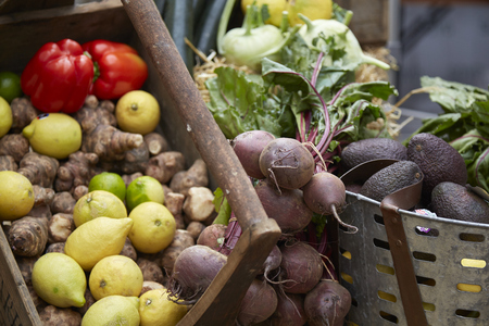Fruit and vegetables in a basket at a farmers market