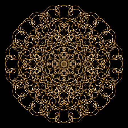 decorative element: Gold mandala. Calligraphic vector design elements on the black background. Gold menu and invitation border, round frame, divider, page decor. Luxury style calligraphic