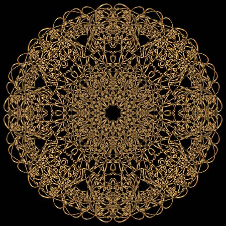 tantra: Gold mandala. Calligraphic vector design elements on the black background. Gold menu and invitation border, round frame, divider, page decor. Luxury style calligraphic
