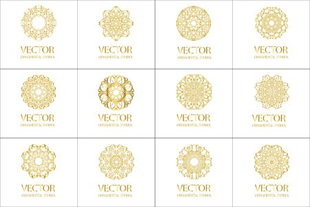 round shape: Set Pattern geometric gold . Vector decorative Arabic characters