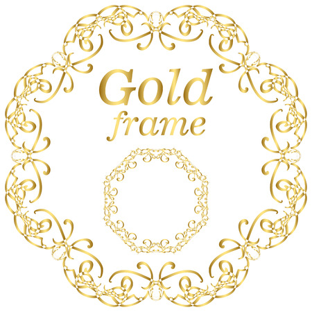 gold ornaments: Golden calligraphic vector design elements. Gold menu and invitation border, round frame, divider, page decor. Luxury style calligraphic Illustration