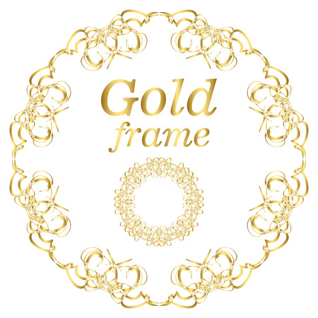 victorian frame: Golden calligraphic vector design elements. Gold menu and invitation border, round frame, divider, page decor. Luxury style calligraphic Illustration