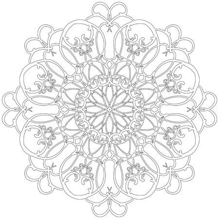 arabic: Black and white abstract circular pattern mandala.