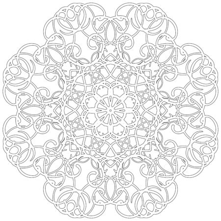 decorative element: Black and white abstract circular pattern mandala.