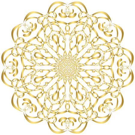 Gold circular pattern Kaleidoscope. East ornament. Mandala. Good for greeting cards, invitations. Print on fabric and paper.