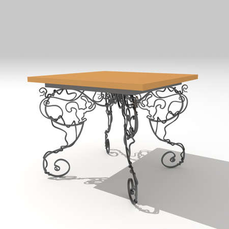 Wrought iron table, Model for the design of forged furniture