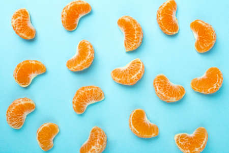 collection of tangerine lobules, food background of citrus fruits